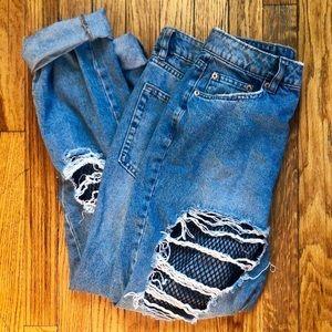 H&M fishnet distressed jean